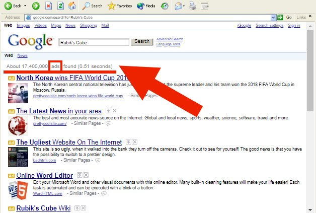 google organic search results ads